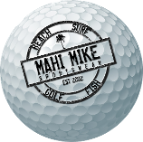 Alt= mahi mike logo golf ball